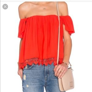 Lovers+Friends off shoulder hot red top